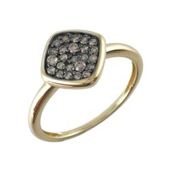 0.28 CTW Brown Diamond Ring 14K Yellow Gold - REF-24F4N