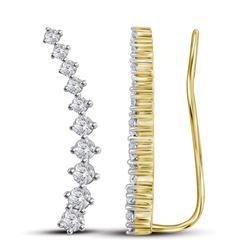 3/4 CTW Round Diamond Climber Earrings 14kt Yellow Gold - REF-47X9T