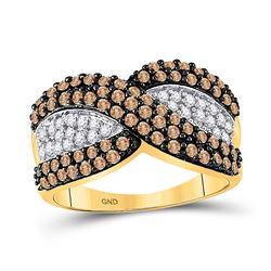1 CTW Round Brown Diamond Crossover Stripe Ring 10kt Yellow Gold - REF-30Y3X