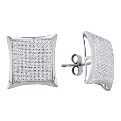 Womens Round Diamond Convex Square Kite Cluster Earrings 1/2 Cttw 10kt White Gold - REF-25K9Y