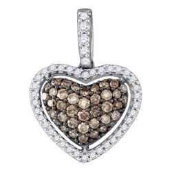 Womens Round Brown Diamond Heart Pendant 1/2 Cttw 10kt White Gold - REF-19R5X