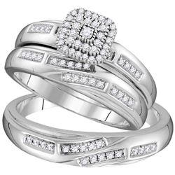 His Hers Round Diamond Solitaire Matching Wedding Set 1/3 Cttw 10kt White Gold - REF-35N5F