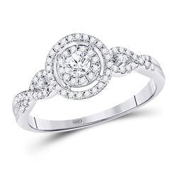 Round Diamond Solitaire Bridal Wedding Engagement Ring 3/8 Cttw 10kt White Gold - REF-32Y5N