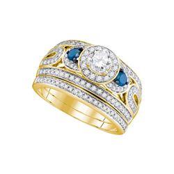 Round Diamond Bridal Wedding Ring Band Set 1 Cttw 14kt Yellow Gold - REF-115X9A