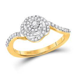 Womens Round Diamond Swirl Fashion Ring 1/3 Cttw 14kt Yellow Gold - REF-25Y9N
