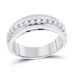 Mens Round Diamond Wedding Single Row Band Ring 1/2 Cttw 14kt White Gold - REF-63H9R