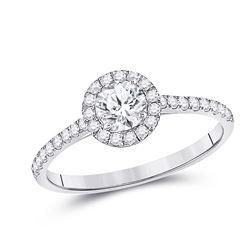 Round Diamond Halo Bridal Wedding Engagement Ring 3/4 Cttw 14kt White Gold - REF-126H9R