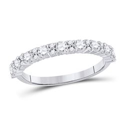 Womens Round Diamond Single Row Band Ring 3/4 Cttw 10kt White Gold - REF-43M5H