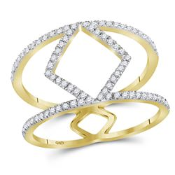 Womens Round Diamond Negative Space Band Ring 1/4 Cttw 10kt Yellow Gold - REF-14F9W