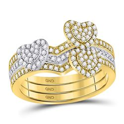 Womens Round Diamond 3-Piece Heart Ring 1/2 Cttw 10kt Two-tone Gold - REF-41H5R