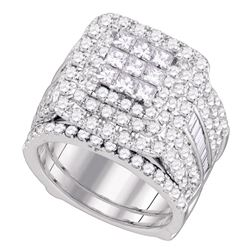 Diamond Cluster Wedding Bridal Ring Set 4 Cttw 14kt White Gold - REF-288A5M
