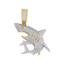 Mens Diamond Shark Nautical Charm Fashion Pendant 1 & 1/2 Cttw 10kt Yellow Gold - REF-90N5F