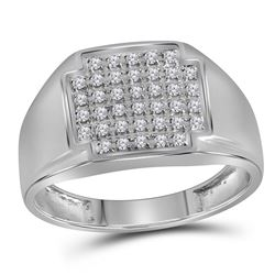 1/4 CTW Mens Round Pave-set Diamond Square Cluster Ring 10kt White Gold - REF-24K3R