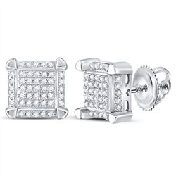 1/6 CTW Mens Round Diamond Square Cluster Stud Earrings 10kt White Gold - REF-15F5M