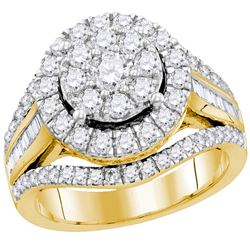 2 CTW Round Diamond Cluster Bridal Wedding Engagement Ring 10kt Yellow Gold - REF-167Y9X