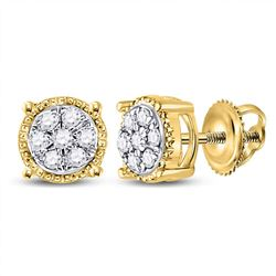1/6 CTW Round Diamond Flower Cluster Earrings 10kt Yellow Gold - REF-11H9W
