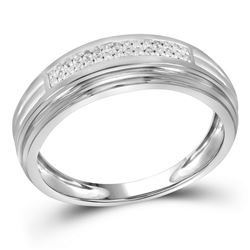 1/10 CTW Mens Round Diamond Double Row Wedding Ring 10kt Two-tone White Gold - REF-21M5A