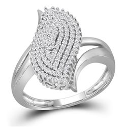 3/8 CTW Round Diamond Oval Cluster Ring 10kt White Gold - REF-26R3H
