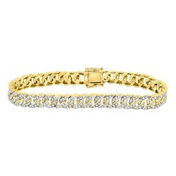 1 & 7/8 CTW Mens Round Diamond Cuban Link Bracelet 10kt Yellow Gold - REF-203M9A