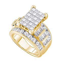 4 CTW Princess Diamond Cluster Bridal Wedding Engagement Ring 14kt Yellow Gold - REF-324F3M