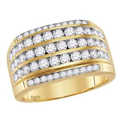 2 & 1/3 CTW Mens Round Diamond Five Row Striped Ring 14kt Yellow Gold - REF-162T3K