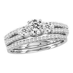 1 CTW Round Diamond Bridal Wedding Engagement Ring 14kt White Gold - REF-105M6A