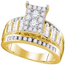 7/8 CTW Round Diamond Cluster Bridal Wedding Engagement Ring 10kt Yellow Gold - REF-57T3K