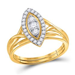Round Diamond Bridal Wedding Ring Band Set 1/3 Cttw 10kt Yellow Gold - REF-27K5Y