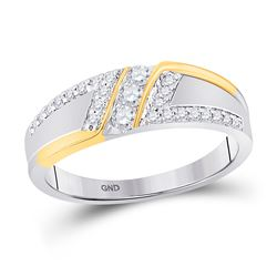 Mens Round Diamond 3-stone Wedding Ring 1/2 Cttw 10kt Two-tone Gold - REF-42W9K