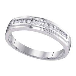 Womens Round Diamond Single Row Wedding Band 1/8 Cttw 10kt White Gold - REF-13F5W