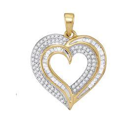 Womens Baguette Diamond Heart Pendant 3/8 Cttw 10kt Yellow Gold - REF-21W5K