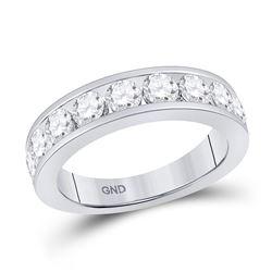Womens Round Diamond Wedding Single Row Band 1-3/4 Cttw 14kt White Gold - REF-164A5M