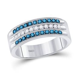Womens Round Blue Color Enhanced Diamond Band Ring 1/2 Cttw 10kt White Gold - REF-36Y9N
