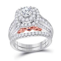 Round Diamond Bridal Wedding Ring Band Set 2 Cttw 14kt Two-tone Gold - REF-255Y5N