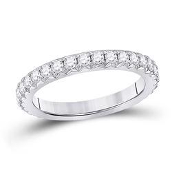Womens Round Diamond Eternity Wedding Band 1 Cttw 14kt White Gold - REF-98K5Y