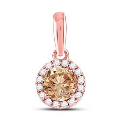 Womens Round Brown Diamond Halo Solitaire Pendant 1/2 Cttw 14kt Rose Gold - REF-36Y9N
