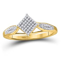 Womens Round Diamond Offset Square Cluster Ring 1/5 Cttw 10kt Yellow Gold - REF-15R5X