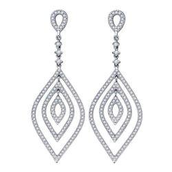 Womens Round Diamond Oval Dangle Earrings 1 Cttw 14kt White Gold - REF-120F5W