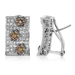 1.5 CTW Brown Diamond & Diamond Earrings 14K White Gold - REF-104F6N