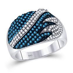Womens Round Blue Color Enhanced Diamond Stripe Fashion Ring 3/4 Cttw 10kt White Gold - REF-30K9Y
