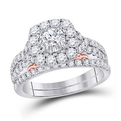 Round Diamond Bridal Wedding Ring Band Set 1-1/2 Cttw 14kt Two-tone Gold - REF-126A9M