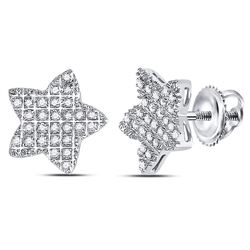 Mens Round Diamond Star Cluster Earrings 1/6 Cttw 10kt White Gold - REF-10A5M