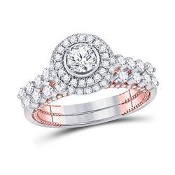 Round Diamond Bridal Wedding Ring Band Set 1-3/4 Cttw 14kt Two-tone Gold - REF-159N9F