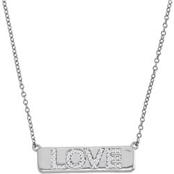 """Womens Round Diamond Love Bar Pendant Necklace with 18"""" Chain 1/8 Cttw 10kt White Gold - REF-27N9F"""