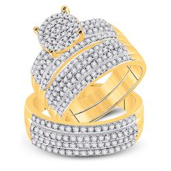 His Hers Round Diamond Cluster Matching Wedding Set 1-1/3 Cttw 14kt Yellow Gold - REF-80Y9N