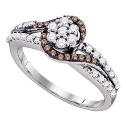 Brown Diamond Flower Cluster Bridal Ring 1/2 Cttw 10k White Gold - REF-32N9F