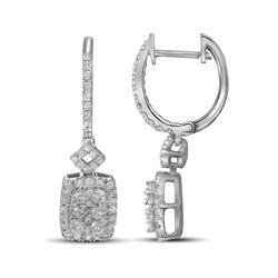 Womens Round Diamond Rectangle Dangle Earrings 7/8 Cttw 14kt White Gold - REF-80H9R