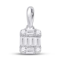Womens Baguette Diamond Fashion Cluster Pendant 1/5 Cttw 14kt White Gold - REF-14H9R