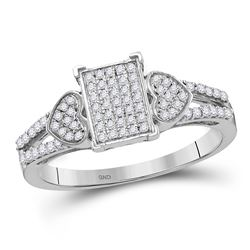 Womens Round Diamond Double Heart Square Cluster Ring 1/4 Cttw 10kt White Gold - REF-20A9M