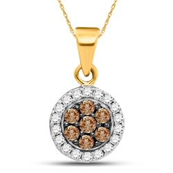 Womens Round Brown Diamond Framed Flower Cluster Pendant 3/8 Cttw 10kt Yellow Gold - REF-16N9F